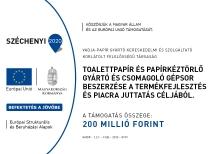 Uniós támogatásból két sávos nagy teljesítményű zsebkendő gyártó berendezések és csomagológép kerültek beszerzése a Vajda-Papír Kft. budapesti telephelyén