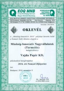 Minőség-Innováció díj